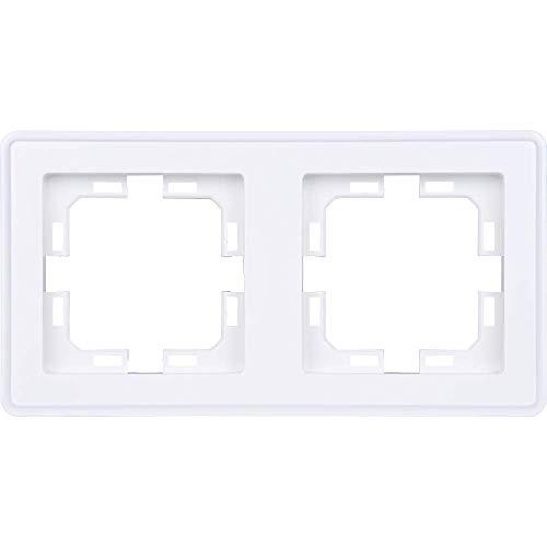 HEITECH 2fach Schalter & Steckdose Abdeckrahmen - 2er Rahmen in weiß für senkrechte & waagerechte Unterputz Installation - Zweierrahmen Abdeckung, Steckdosenrahmen, Steckdosenblende, Schalterrahmen