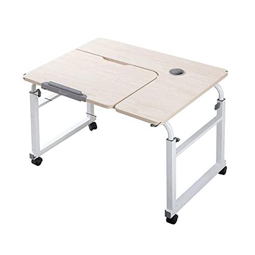 QIAOLI Escritorio de pie para ordenador portátil, de elevación moderna, ajustable, con rueda, para el hogar, oficina, dormitorio, computadora (color: blanco, tamaño: mediano)