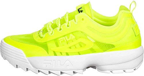 Fila Disruptor Run Damen Frauen,Sneaker-Low,Chunky-Sneaker,Mesh-Einsatz,Sportschuh,Einstiegshilfe,gepolsterte Decksohle,NEON Lime,38 EU