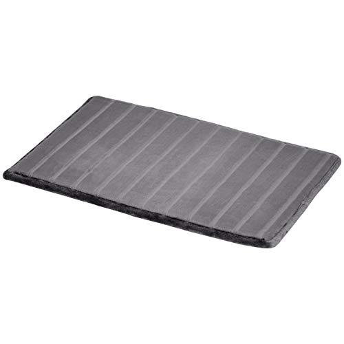 AmazonBasics - Badematte, Streifenstruktur, Memory-Schaum, Grau, 50 x 80 cm