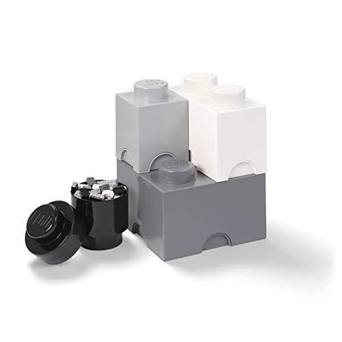 Room Copenhagen Lego Aufbewahrungsstein Multi-Pack L, Stapelbare Aufbewahrungsboxen, 4er-Set (Black, White, Dark Grey), Mix, one Size