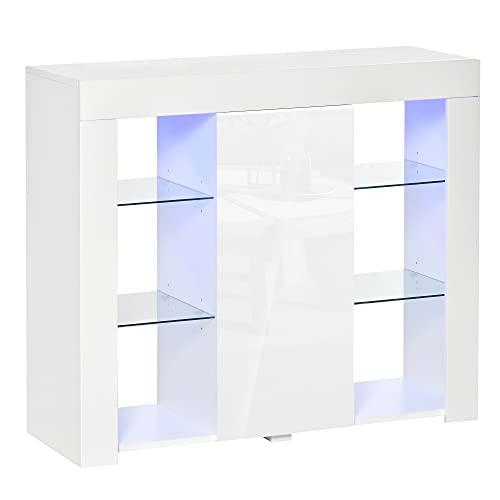 HOMCOM Aparador Moderno con Luces LED Mueble Buffet con 1 Puerta de Alto Brillo Cierre a Presión Estantes Ajustables y Control Remoto 97x35x83 cm Blanco