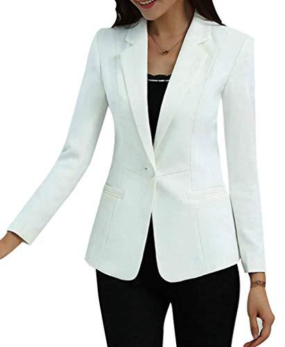 Yasong Women Long Sleeve Plain Casual Work Formal Suit Jacket Blazer White UK 10