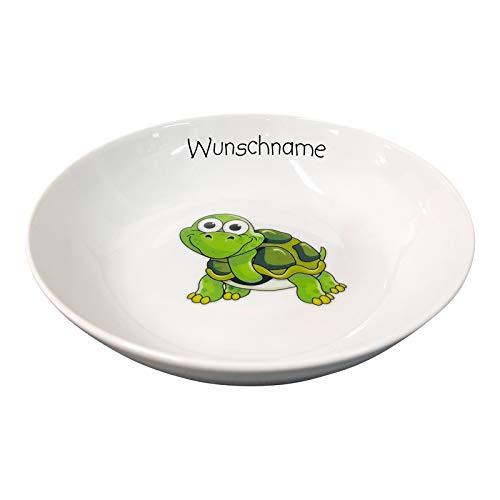 Doriantrade Kinder Müslischale Breischale Schale Porzellan Tiermotive personalisierbar mit Wunschname Name Kindergeschirr mit Namen personalisiert (Schildkröte)