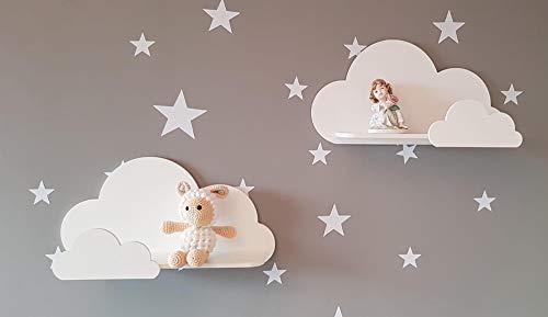 Juego de 2 estantes de pared Happy Woody Cloud para guardería/estante flotante de madera/decoración de habitación de bebé/habitación de cuarto de niños/decoración de pared/juego de regalo (blanco)