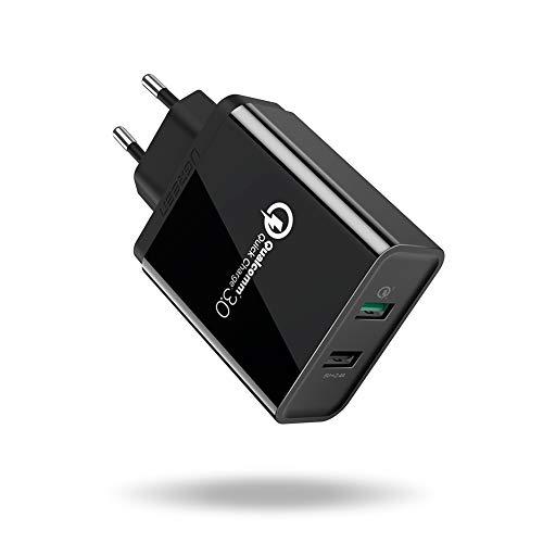 UGREEN Cargador Rápido 2 Puertos USB QC 3.0 y 5V/2.4A, 30W Cargador Pared Carga Rápida Quick Charge 3.0 para Samsung S10 S9, iPhone XS, BQ Aquaris X, LG G6 G5, Xiaomi Mi9 Mi8 Mi6, HTC etc. (Negro)