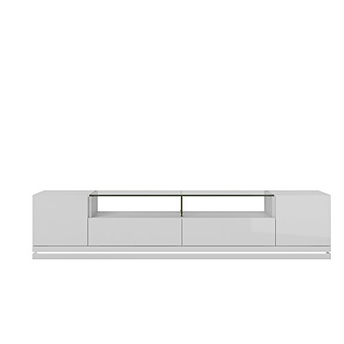 """Manhattan Comfort Vanderbilt Collection Contemporary TV Stand with Drawers and LED Lights, 85.4"""" L x 17.6"""" D x 19.5"""" H, White Gloss"""