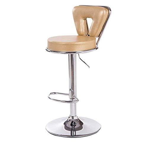 ZLININ Taburete de bar de cuero Taburetes de bar para cocina, desayuno, bar, silla para cocina, base de metal estable, para desayuno, bar, cocina, color amarillo claro, tamaño: 45 x 41 x 34 cm