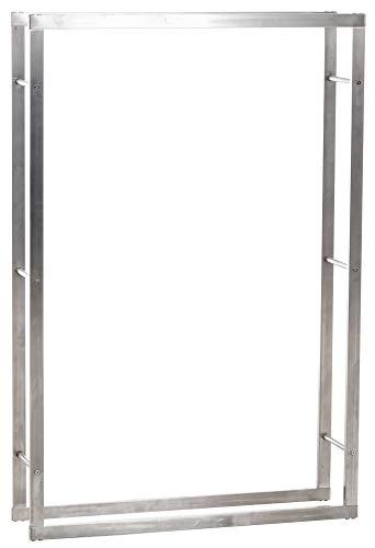 CLP Kaminholzregal KERI aus Edelstahl I Robuster Kaminholzständer mit Bodenschonern I Holzbutler in bis zu 8 Größen wählbar, Größe:25x100x150 cm