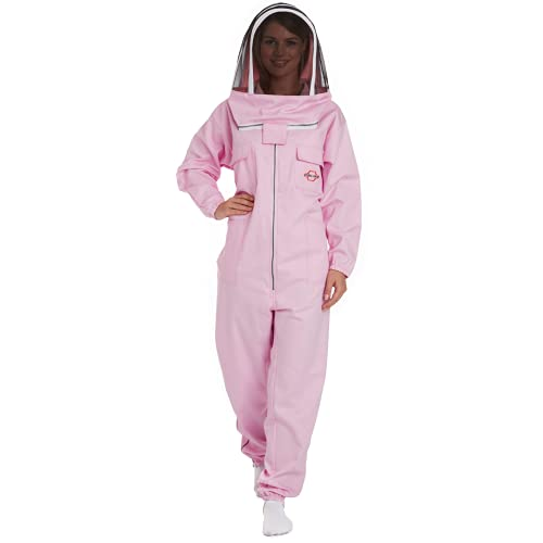 Natural Apiary - Apiarist Beekeeping Suit - Pink - (All-in-One) - Fencing Veil - Total Protection for Professional & Beginner Beekeepers - X Small
