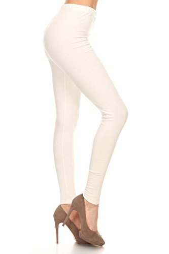 NCL32-Ivory-L Cotton Spandex Solid Leggings, Large