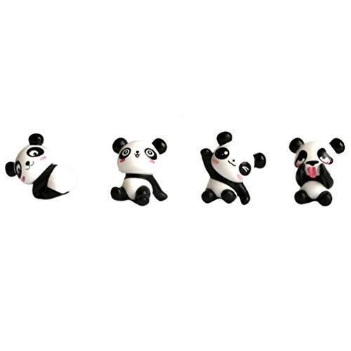 Amosfun Panda Miniature Figurine Plastic Bear Toys Animal Collectibles Toy for Fairy Garden Dollhouse Bonsai Micro Landscape Ornaments 4pcs (Random Pattern)