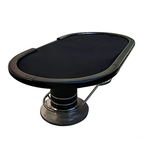 JLFFYJ Mesa de Póquer para Amigos y Familiares, Mesa de Juego de Mesa de Póquer Mesa de Juego de Ocio Texas Holdem Casino con Base de Pedestal de Acero Inoxidable, 260x140x80cm, Negro