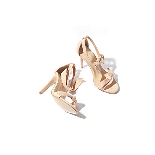 Elegant High Heel Women Sandals Bowtie One Strap Heel Sandals Flock Women Beach Sandals,Apricot,10