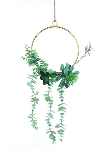 Romase Artificial Floral Metal Wreath Handmade Garland of 1 Piece Succulent with Green Eucalyptus for Wedding Backdrop Wall Decor