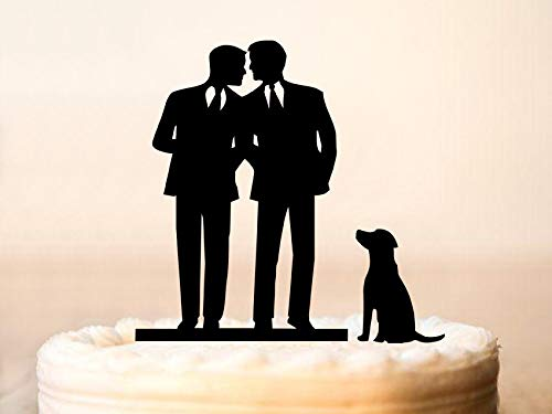 Gay Cake Topper + Dog Same Sex Cake Topper Gay Wedding Cake Topper Gay Silhouette Homosexual Wedding Cake Topper For Men Mr And Mr