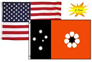 LuxMart 3x5 3'x5' Wholesale Set (2 Pack) USA American & Northern Australia Flag Banner