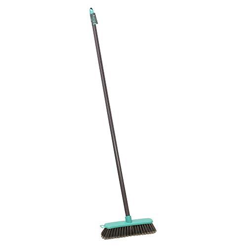 JVL Lightweight Indoor Angled Soft Bristle Sweeping Brush Broom, Grey/Turquoise