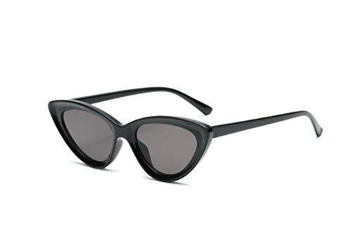 YOJUED Damen Sonnenbrille Cateye Retro Fashion Brille mit Katzenaugen UV Schutz (Schwarz)