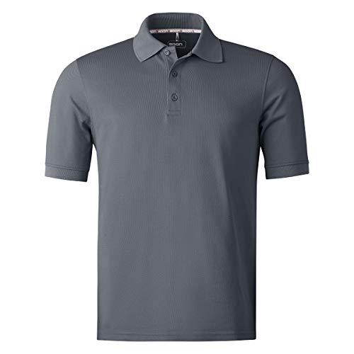 agon Herren Pique Polo-Shirt - Kurzarm-Hemd für Männer mit Knopfleiste, bügelfrei und atmungsaktiv, für Sport und Business, Made in EU Anthrazit 52/L