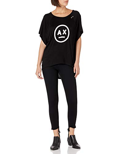 Armani Exchange AX Damen Logo Smiley Print Short Sleeve Jersey Top Hemd, schwarz, Mittel