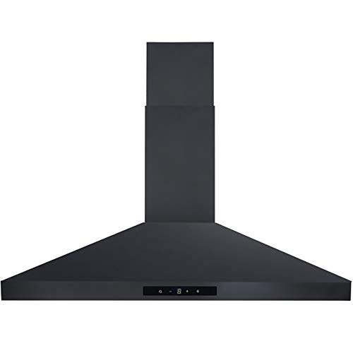 DKB Range Hood DKB-168B2-30T-BLK 30' Inch Wall Mount Stainless Steel 400 CFM Kitchen Exhaust Vent, 3 Speed Fan and Touch Sensitive Control Panel, Black Finish