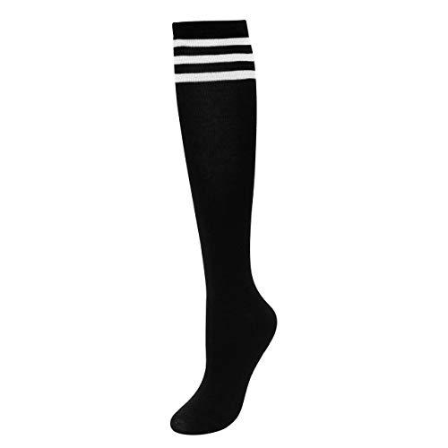 CHIC DIARY Kniestrümpfe Damen Mädchen Fußball Sport Socken College Cheerleader Kostüm Strümpfe Cosplay Streifen, Strumpf, schwarz Gr. One size