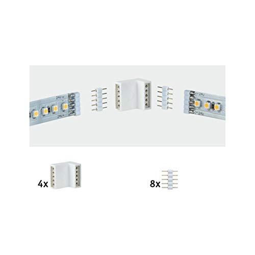 Paulmann 70615 MaxLED Eckverbinder für LED Strip Weiß Stripe Zubehör 4er-Pack inkl. 8 Steckverbinder für Innen- und Außenecken