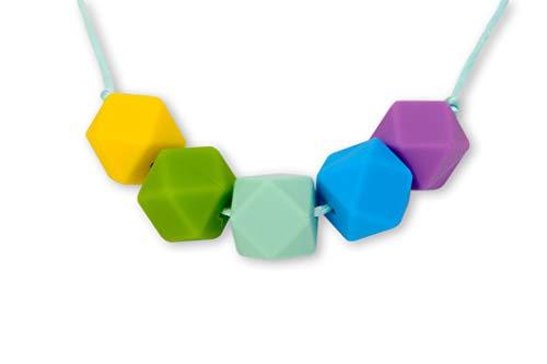Colorido Collar de Silicona para Dentición Lactancia Bebé Perlas Hexagonales para Mordedor Libres de BPA, Hecho a Mano por MilkMama