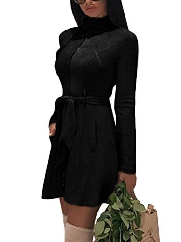 Tomwell Damen Winter Faux Wildleder Reißverschluss Jacke Parka Warm Mäntel Winterjacke Waschbar Outwear mit Taschen Schwarz DE 36