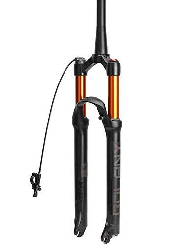 ZHTY Horquilla de suspensión de Bicicleta MTB 26/27,5/29 Pulgadas amortiguación de Aire Horquilla Delantera de Bicicleta Cono Tubo QR Control de Mano Horquilla de suspensión remota