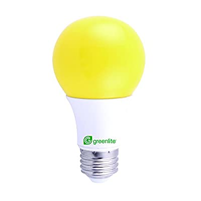 LED Bug Light Bulb Yellow, 9W, 60W Equivalent, Outdoor, A19, E26 Medium Base, 120V, UL Listed and RoHS Certified