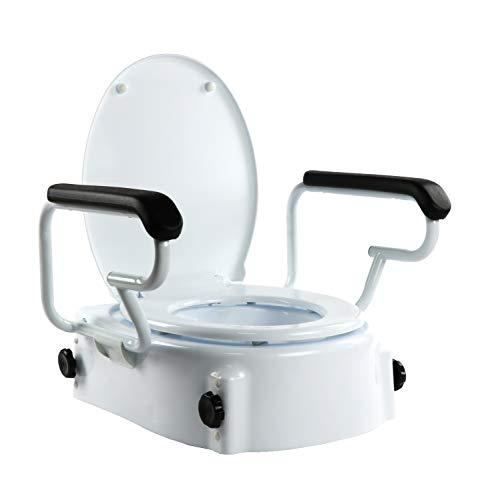 OrtoPrime toiletbrilverhoger, kantelbaar met inklapbare armleuningen, in hoogte verstelbaar, 5, 10 en 15 cm, toiletbril met deksel, draagbare toiletbril, maximaal gewicht 160 kg