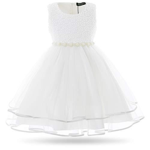 CIELARKO Mädchen Kleid Blumen Perlen Festlich Hochzeits Blumenmädchen Kleider, Weiß, 4-5 Jahre