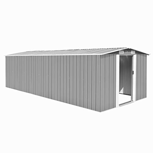 vidaXL Caseta de Jardín de Metal Gris 257x597x178 cm Caseti