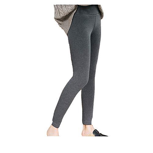 Leggings invernali da donna in caldo pile foderato a vita alta spessa pantaloni termici - grigio - S