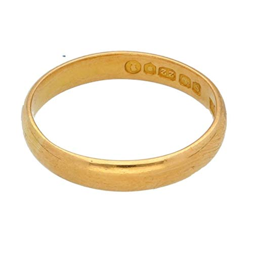 Womens Ring | 22Carat Yellow Gold D-Shape Wedding Band (Size L) 3mm Width | One of a Kind Jewellery