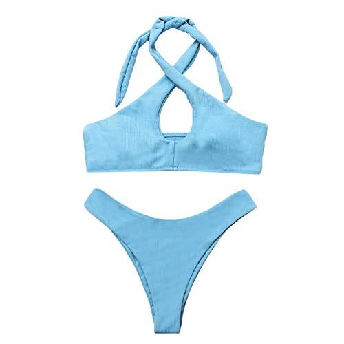 MSFX Zweiteiliges Set Aus Hellblauer Spitze Damen Badeanzug Retro Hohe Taille Badeanzüge Rückenfreie Brustpolster Schwimmen Kostüm Bauch Kontrolle Bikini,M