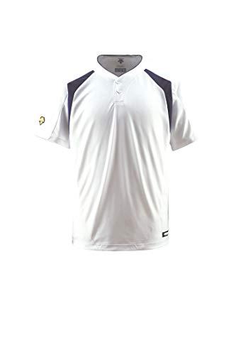 DESCENTE(デサント) ベースボールシャツ(2ボタン) DB205 Sホワイト×Dネイビー(SWNV) O