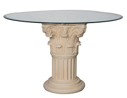 Antikes Wohndesign Runder Glas Esstisch Küchentisch Tafeltisch Säulentisch Höhe: 78cm