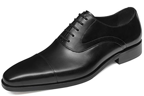 GIFENNSE Mens Dress Shoes Oxford Shoes Men Leather Formal Shoes for Men 11US Black