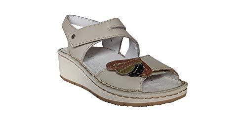 Hergos H1415 Sandalo Donna Tortora Plantare Estraibile Chiusura a Velcro (36)