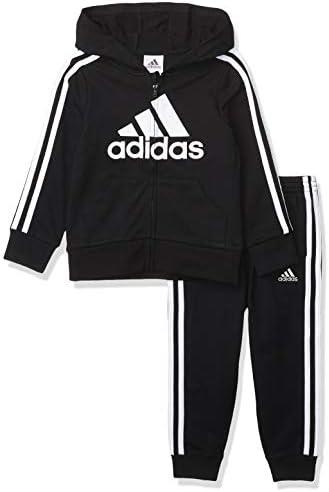 adidas Boys Li l Sport Fleece Zip Front Hoodie Jogger Active Clothing Sweatsuit Set Essentials product image