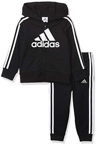 adidas Boys' Li'l Sport Fleece Zip Front Hoodie & Jogger Active Clothing Sweatsuit Set, Essentials Black, 4