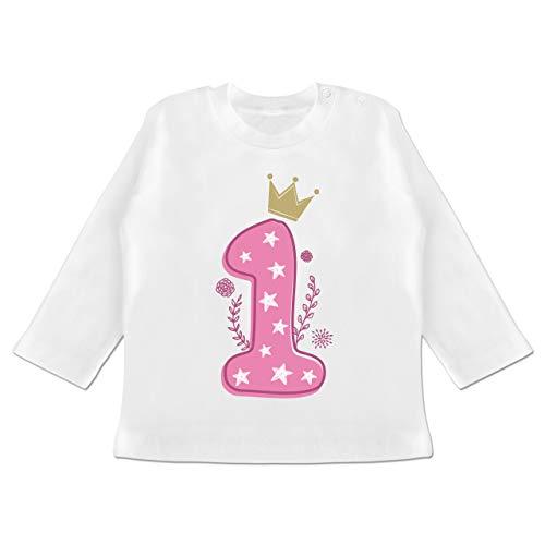 Geburtstag Baby - 1. Geburtstag Mädchen Krone Sterne - 12/18 Monate - Weiß - Langarm Shirt Geburtstag+4+mädchen - BZ11 - Baby T-Shirt Langarm