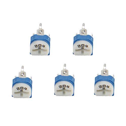 65 Unids Resistencia Variable 13 Valores Ajustable Horizontal Multiturno Recortador Potenciómetro 100ohmto 1Mohm con Kit Surtido Azul y Blanco para Placa PCB
