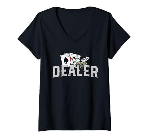 Mujer Disfraz de crupier de pker I Crupier de casino I Pker Camiseta Cuello V