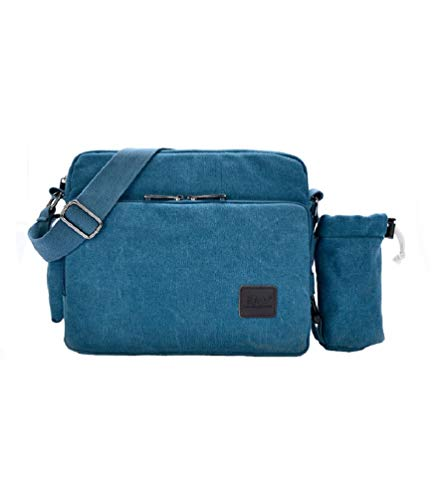 Womens Crossbody Messenger Bags Multifunction Canvas Handbag Messenger Shoulder Bag Leisure Working Bag Change Packet with Small Water Bag Blue