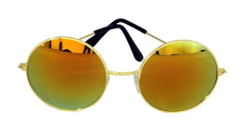 Bullahshah Schöne Unisex Aktuelle Design-Hippie-Stil Brillen Runde Sonnenbrillen Anti-Reflektierende Linse (Gelbes Spiegelglas mit Gold Rahmen)