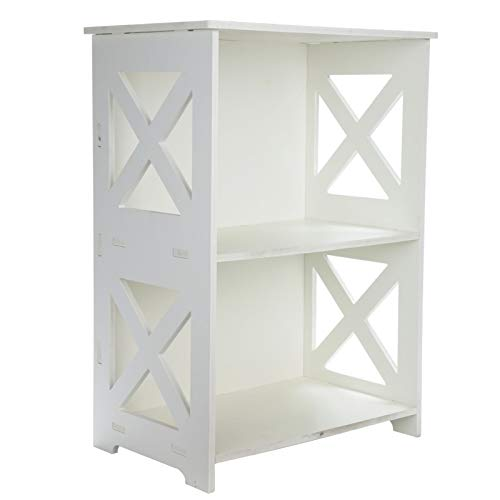 Shoze Hollow Out Side Table Storage Rack Modern Home Decoration Wood Plastic Plate End Side Table 2 Tier Small Table White Furniture